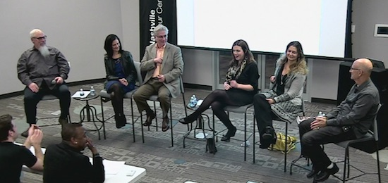 Media In Music Business Panel. (L-R) John Marks, Leslie Fram, Charlie Cook, Lauren Black, Lisa Konicki and David M. Ross