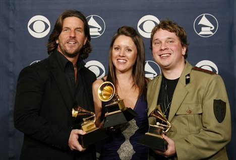 "(L-R) Brett James, with ""Jesus Take The Whell"" co-writers Hillary Lindsey, and Gordie Sampson."